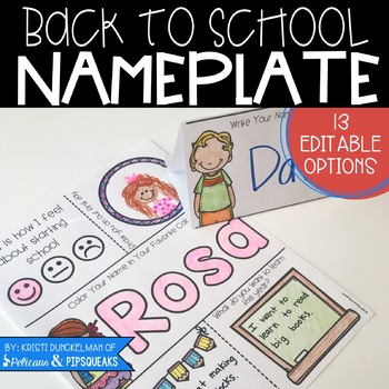 Editable Back to School Nameplates