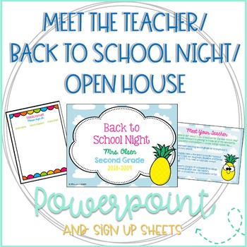 Editable Back to School Night/Meet the Teacher/Open House Pineapple PowerPoint