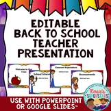 Editable Back to School Night Presentation