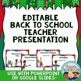 Editable Back to School Night Presentation: Rockstar Theme