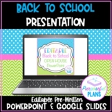 Editable Welcome Back to School Night/Open House/Meet The