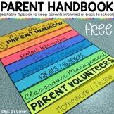 FREE Editable Back to School Parent Handbook Flipbook