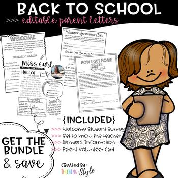 Editable Back to School Parent letters