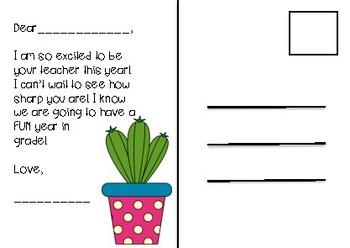 Editable Back to School Postcard