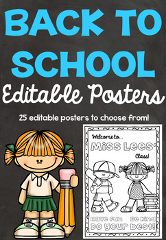 Editable Back to School Posters/Colorings