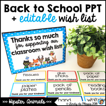 Editable Back to School PowerPoint Hipster Animals Classroom Decor