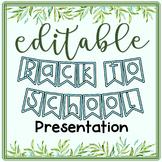 Editable Back to School Night Presentation