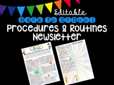 Editable Back to School Procedures and Routines Newsletter