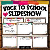Editable Back to School Slideshow -Curriculum Night, Open
