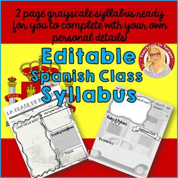 "Editable ""Back to School"" Spanish Class Syllabus/Handout"