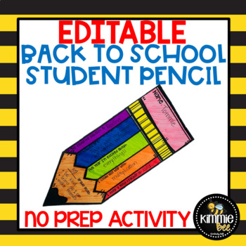 Editable Back to School Student Information Pencil Writing 1st 2nd 3rd 4th 5th