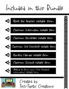 Editable Back to School Teacher Forms
