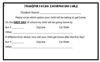 Editable Back to School Transportation Information Card
