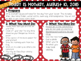 Editable Back to School/August Morning Work/Message Template