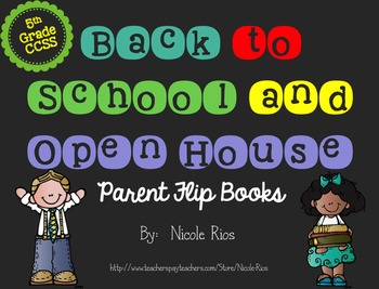 Editable Back to School/Open House Parent Flip Books - 5th Grade CCSS