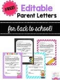 Editable Back to Speech Parent Letters