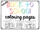 Editable Back to school COLORING PAGES
