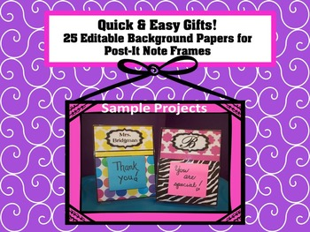 Editable Background Paper for Post-It Note Gifts