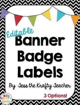 Editable Badge Labels - Chevron and Polka dot - Back to School