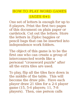 Editable Word Game Letters