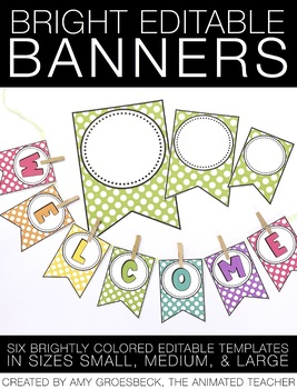 Editable Banner - Bright Colors by Amy Groesbeck | TpT