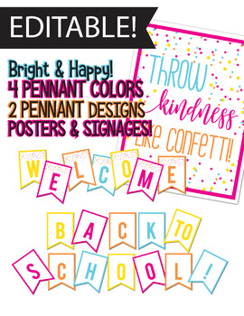 Editable Banner - Back to School, Bright, Throw Kindness like Confetti, Pennant