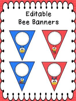 Editable Banner Bees