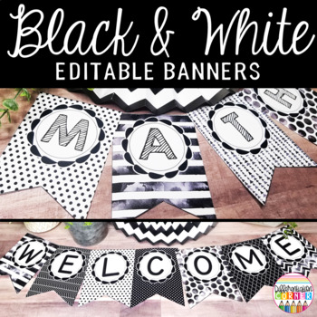 Editable Banner Black and White