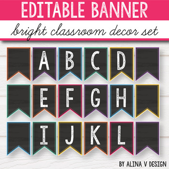 Editable Banner - Chalkboard Brights, Welcome Banner Letters