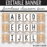Editable Banner - Farmhouse Alphabet Bunting, Bulletin Board Letters