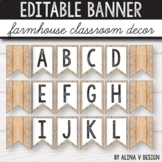 Editable Banner Farmhouse Alphabet Bunting Bulletin Board Letters