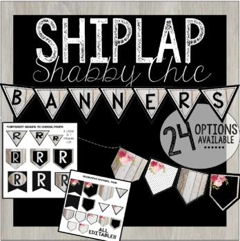 Editable Banner Letters - Shiplap Wood Shabby Chic Vintage Roses