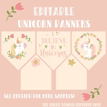 Editable Banner - Magical Unicorns