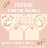Editable Banner - Magical Unicorns