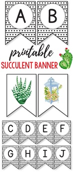 Editable Banner -  Succulent Themed Classroom