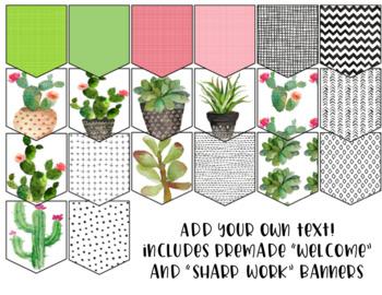 Editable Banner - Succulent Themed - Classroom Decor