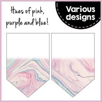 Editable Banner - Watercolor Marble - Classroom Decor