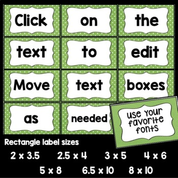 Editable Banner and Labels (Lime & White Dot)