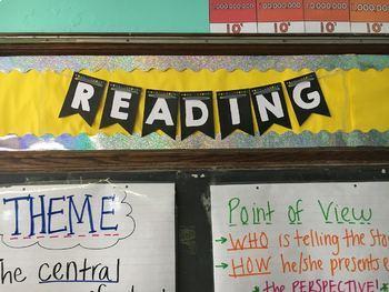 Editable Banner for teacher name or subjects - black rainbow chalkboard theme