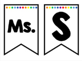 Editable Banner for teacher name or subjects - white rainb