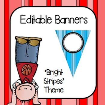 """Editable Banners- """"Bright Stripes"""""""