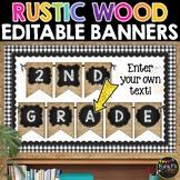 Farmhouse Classroom Decor Rustic Wood & Chalkboard Editable Banners