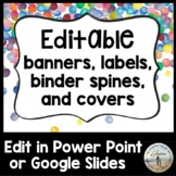 Editable Banners, Labels, Binder Spines & Covers - Confetti