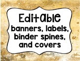 Editable Banners, Labels, Binder Spines & Covers - Gold stone and Glitter
