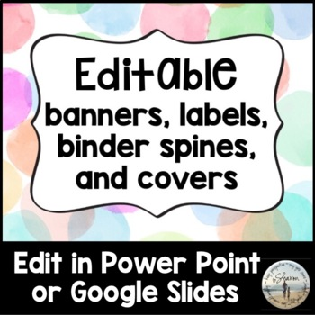 Editable Banners, Labels, Binder Spines & Covers - Pastel Watercolor Dots