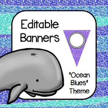 "Editable Banners- ""Ocean Blues"""
