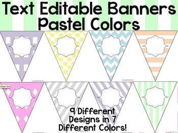 Editable Banners Pastel Colors