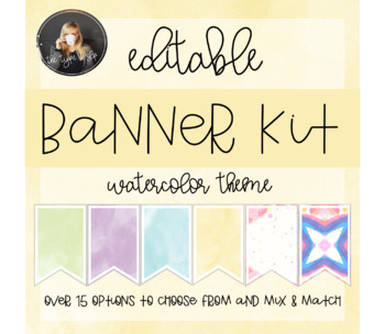 Editable Banners, Colorful Watercolor