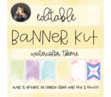 Editable Banners Kit, Colorful Watercolor