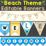 Editable Banners & Welcome Pennants Beach Theme (4 Designs)
